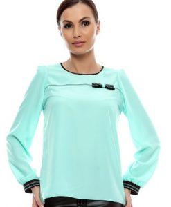 Bluza aqua din vascoza cu fundita B67 - Bluze si topuri -