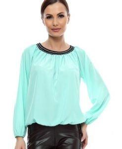 Bluza aqua din vascoza cu maneca lunga B61 - Bluze si topuri -
