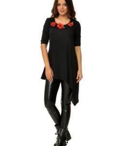 Bluza asimetrica cu aplicatie florala CBM1007 - Bluze si topuri -