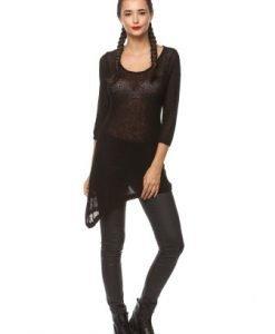 Bluza asimetrica din tricot 1F.378 negru - Bluze si topuri -