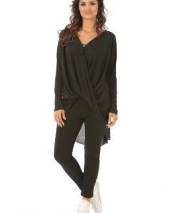 Bluza asimetrica din vascoza B042S negru - Bluze si topuri -