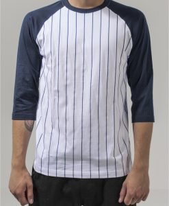 Bluza baseball contrast cu maneci trei sferturi alb-bleumarin Urban Classics - Tricouri urban - Urban Classics>Barbati>Tricouri urban