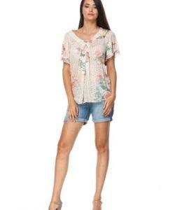 Bluza bej cu imprimeu floral din vascoza CV204 - Bluze si topuri -