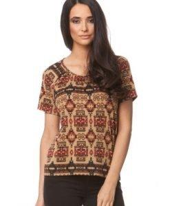 Bluza bej din jerse cu imprimeu etnic CP126 - Bluze si topuri -