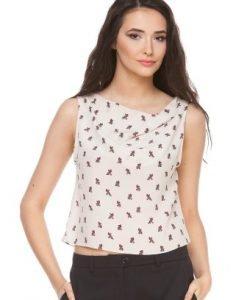 Bluza bej din matase naturala cu imprimeu 6019 - Bluze si topuri -