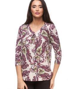 Bluza bej din vascoza cu imprimeu baroc CP116 - Bluze si topuri -