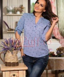 Bluza bleu cu dungi si imprimeu inimioare - BLUZE -