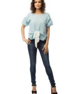 Bluza bleu cu funda alba BR1369 - Bluze si topuri -
