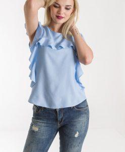 Bluza bleu de vara cu volane - BLUZE -