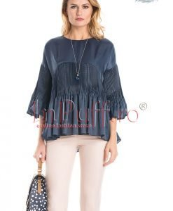 Bluza bleumarin cu aplicatii plisate - BLUZE -