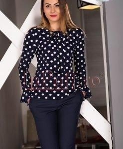 Bluza bleumarin cu buline albe - BLUZE -