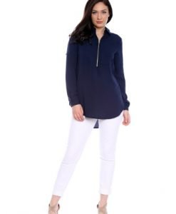 Bluza bleumarin cu fermoar AM-60227 - Outlet -