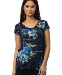 Bluza bleumarin cu imprimeu floral CSF-048 - Bluze si topuri -