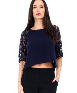 Bluza bleumarin cu maneci din dantela BR622 - Bluze si topuri -