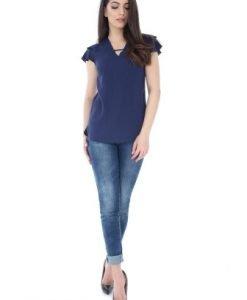 Bluza bleumarin din vascoza BR1423 - Bluze si topuri -