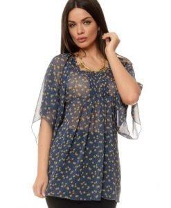 Bluza bleumarin din voal B320 - Bluze si topuri -
