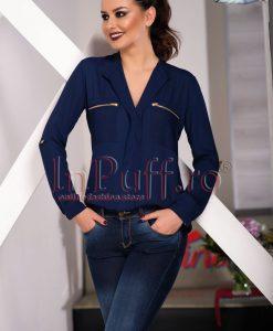 Bluza bleumarin din voal cu fermoare la piept - BLUZE -