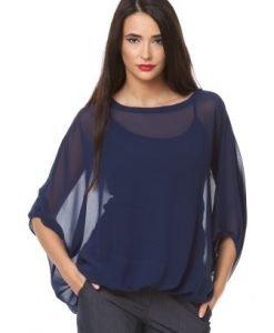 Bluza bleumarin din voal cu maieu si siret la spate D2320 - Bluze si topuri -