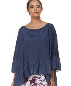 Bluza bleumarin larga din matase naturala D2344 - Bluze si topuri -