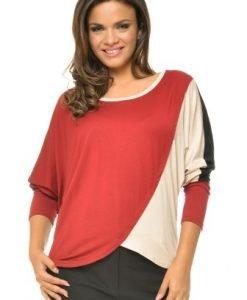 Bluza casual asimetrica in trei culori BN35 rosu/crem/negru - Bluze si topuri -