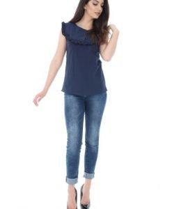 Bluza casual bleumarin din bumbac BR1419 - Bluze si topuri -