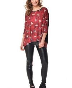 Bluza casual cu imprimeu din vascoza VE123 rosu-negru - Bluze si topuri -