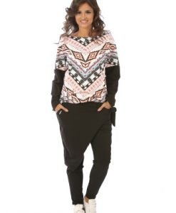 Bluza casual cu imprimeu traditional din bumbac B064 multicolor - Bluze si topuri -