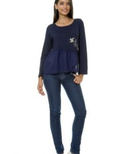 Bluza casual cu maneca lunga si pictura manuala VE100 bleumarin - Bluze si topuri -