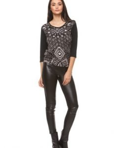 Bluza casual din vascoza cu imprimeu abstract CI168 negru - Bluze si topuri -