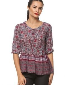 Bluza casual din vascoza cu imprimeu floral NONA multicolora - Bluze si topuri -