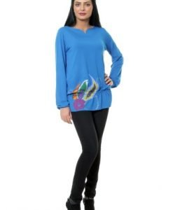 Bluza casual larguta cu maneca lunga din vascoza VE76 bleu - Bluze si topuri -