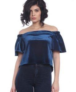 Bluza cin catifea fara maneci AM-30207 albastra - Bluze si topuri -