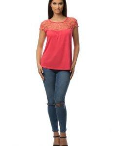 Bluza corai cu broderie florala CSF-024 - Bluze si topuri -