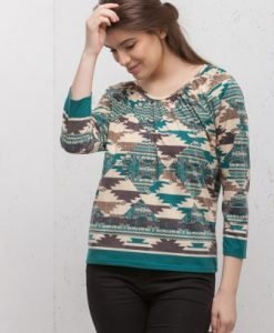 Bluza crem cu imprimeu abstract CI190 - Bluze si topuri -