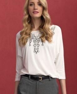 Bluza cu broderie Sarina White - Promotii - Promotiile saptamanii