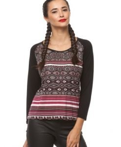 Bluza cu imprimeu abtract si maneca lunga din jerse CT137 negru/bej/rosu - Bluze si topuri -
