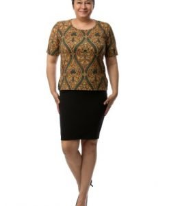 Bluza cu imprimeu baroc CSF-042 mustar - Marimi mari -