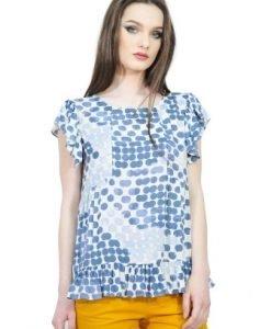 Bluza cu imprimeu buline din vascoza D2520 albastru - Bluze si topuri -