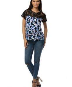 Bluza cu imprimeu floral si dantela CSF-023 negru - Bluze si topuri -