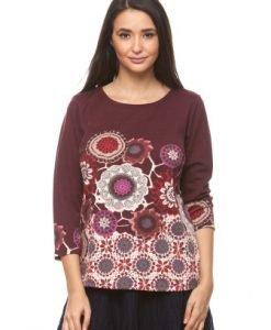 Bluza cu imprimeu floral si maneca trei sferturi CI164 visiniu - Bluze si topuri -