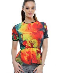 Bluza cu imprimeu multicolor B11 - Bluze si topuri -
