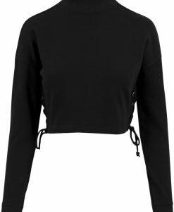 Bluza cu maneca lunga cu sireturi pentru Femei negru Urban Classics - Bluze urban - Urban Classics>Femei>Bluze urban
