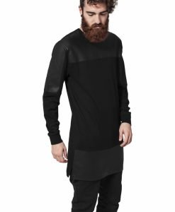 Bluza cu maneca lunga piele ecologica - Bluze cu maneca lunga - Urban Classics>Barbati>Bluze cu maneca lunga