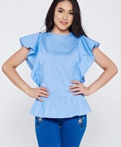 Bluza dama LaDonna albastra-deschis casual din bumbac cu volanase la maneca - Bluze -