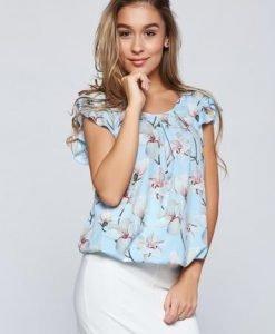 Bluza dama LaDonna albastra-deschis eleganta cu elastic in talie cu imprimeu floral - Bluze -