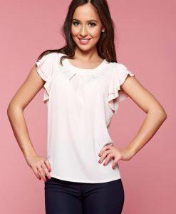 Bluza dama LaDonna rosa cu croi larg din voal - Bluze -