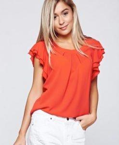 Bluza dama LaDonna rosie cu croi larg din voal - Bluze -