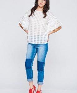 Bluza dama PrettyGirl alba din material vaporos cu maneci tip fluture - Bluze -