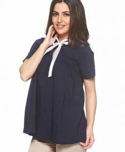 Bluza dama PrettyGirl albastru-inchis din bumbac cu croi larg - Bluze -
