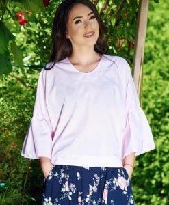 Bluza dama PrettyGirl rosa cu croi larg din bumbac cu maneci clopot - Bluze -